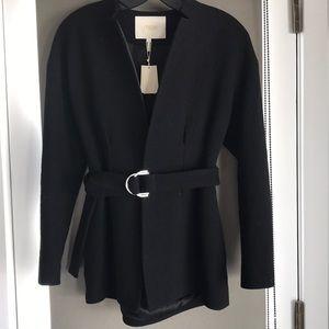 Maje belted black coat, 1 NWT
